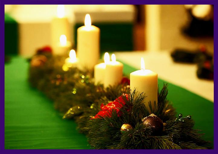 Хвойная композиция со свечами на Новый год