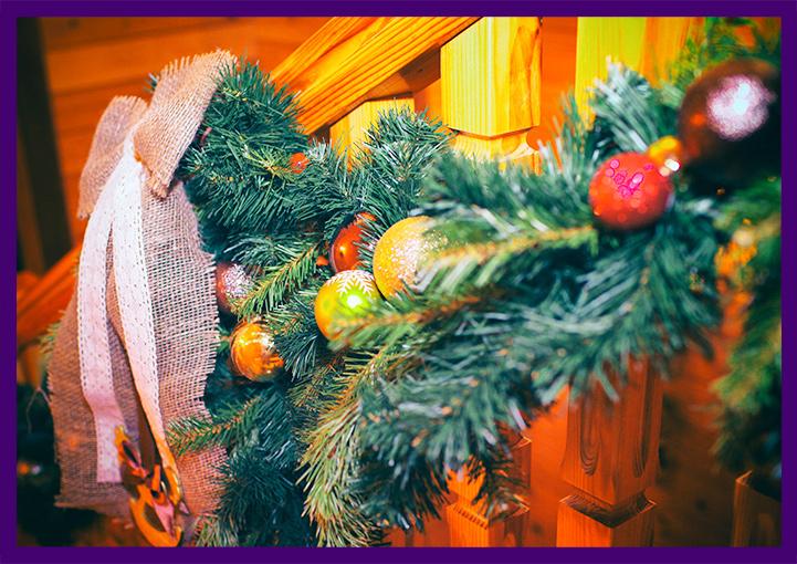 Новогоднее украшение лестничных перил