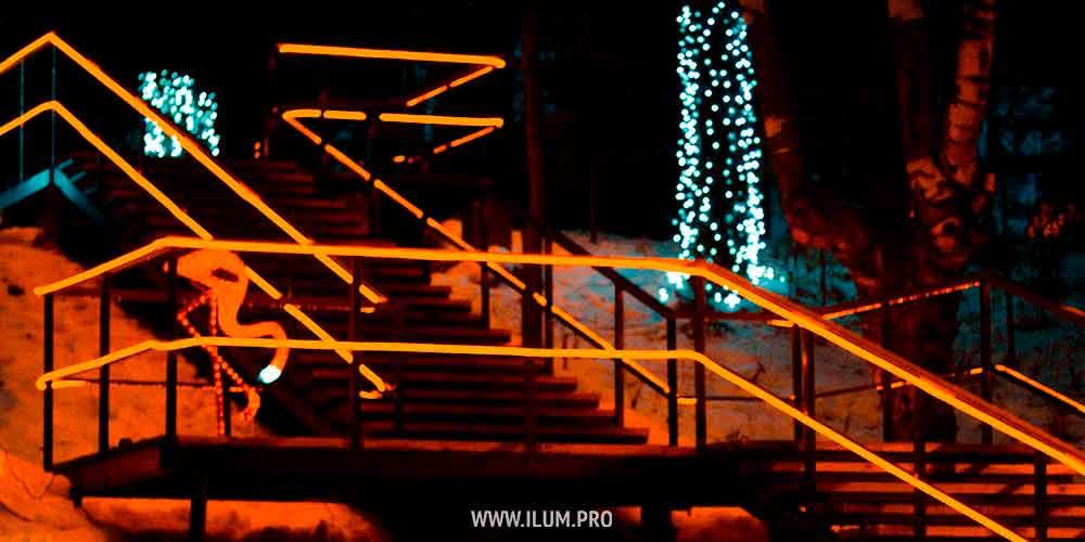 Освещение контура лестницы, акриловый фламинго