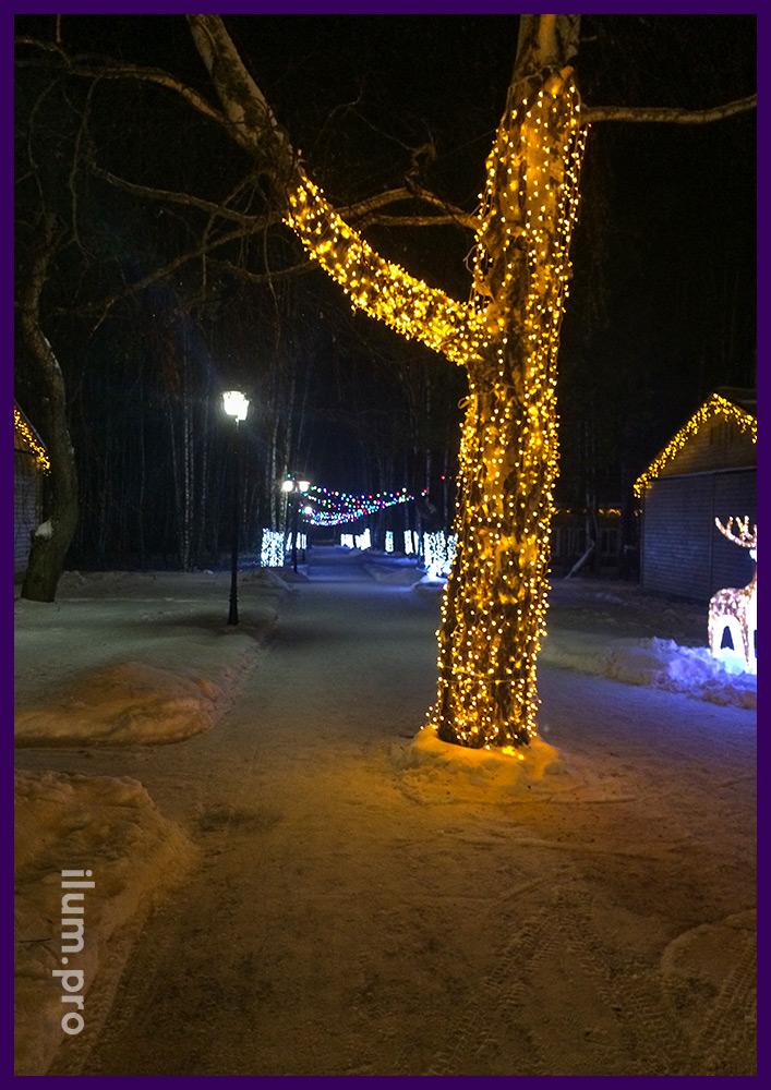 Украшение деревьев светодиодами
