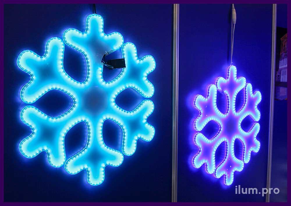 Снежинки из акрила и светодиодной ленты