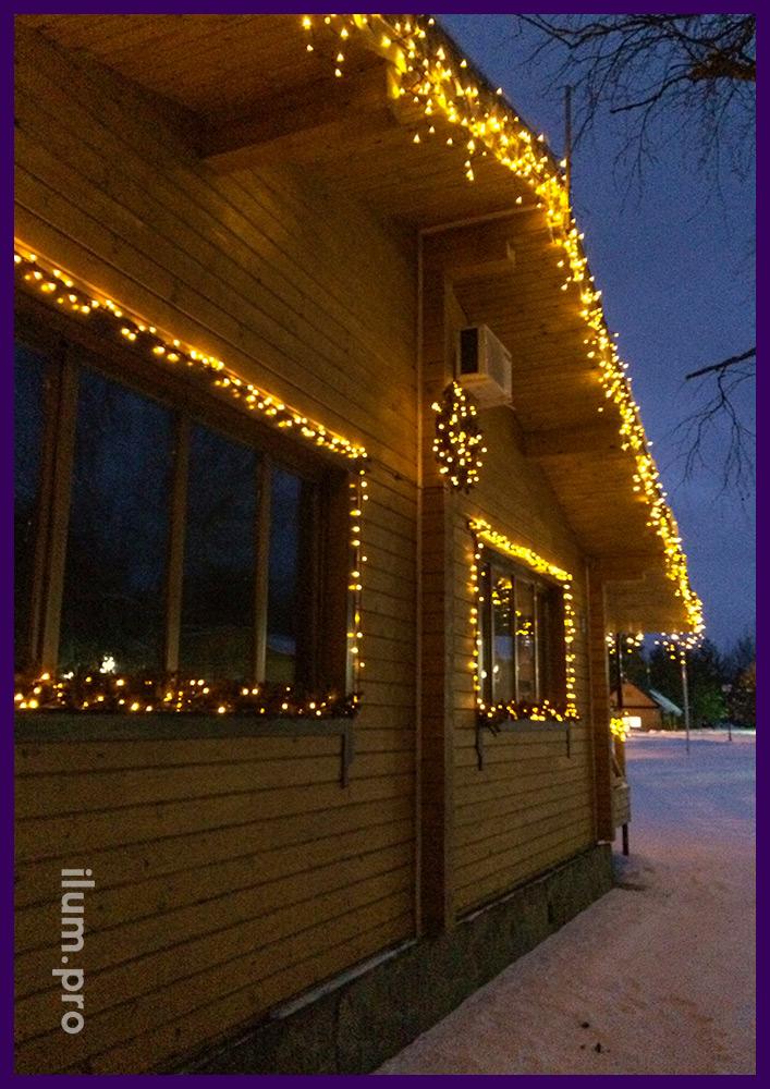 Украшение дома светодиодными гирляндами