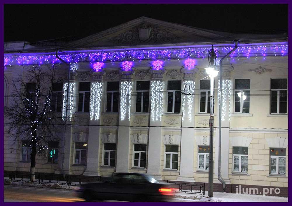 Уличные светодиодные гирлянды для фасада