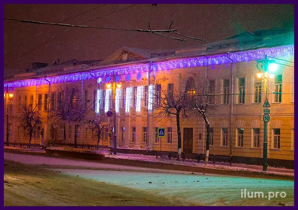 Светодиодные гирлянды для фасада здания