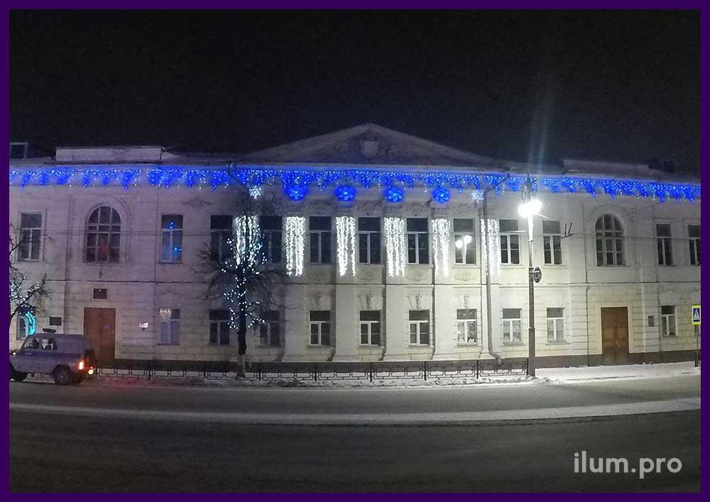 Украшение школы светодиодной иллюминацией