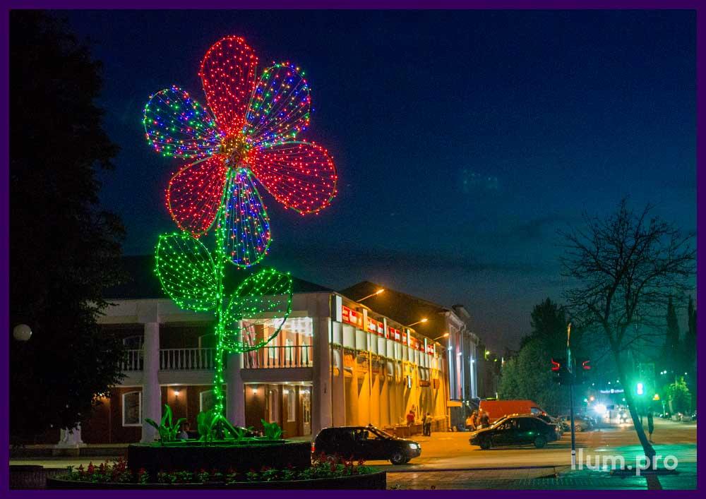 Уличная ромашка из гирлянд для украшения города к праздникам