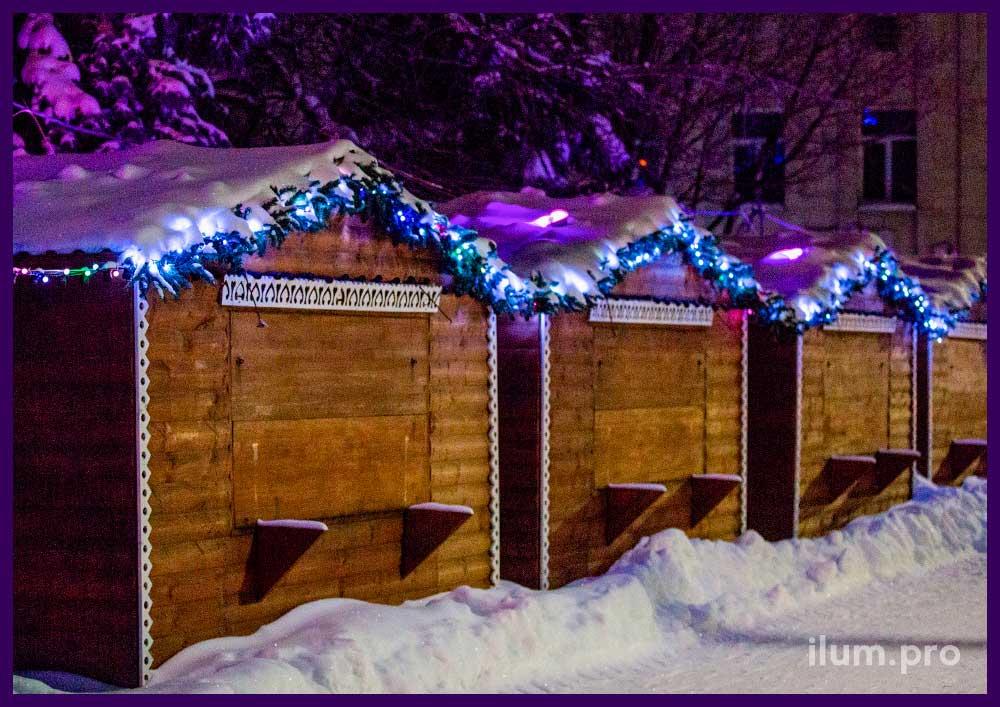 Новогоднее украшение домиков шале