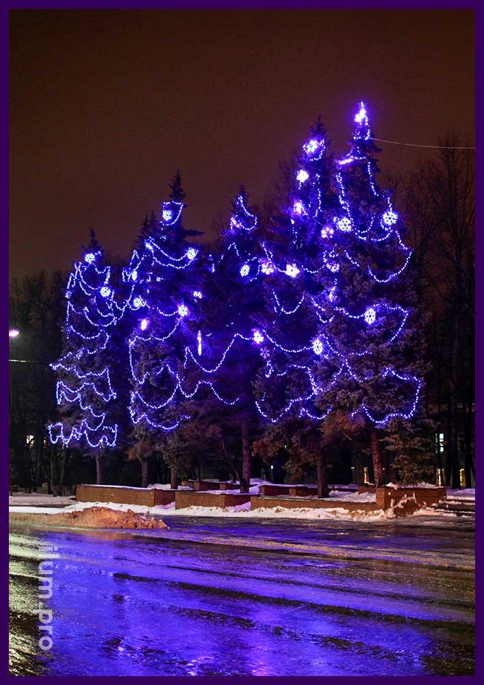 Синие светодиодные снежинки