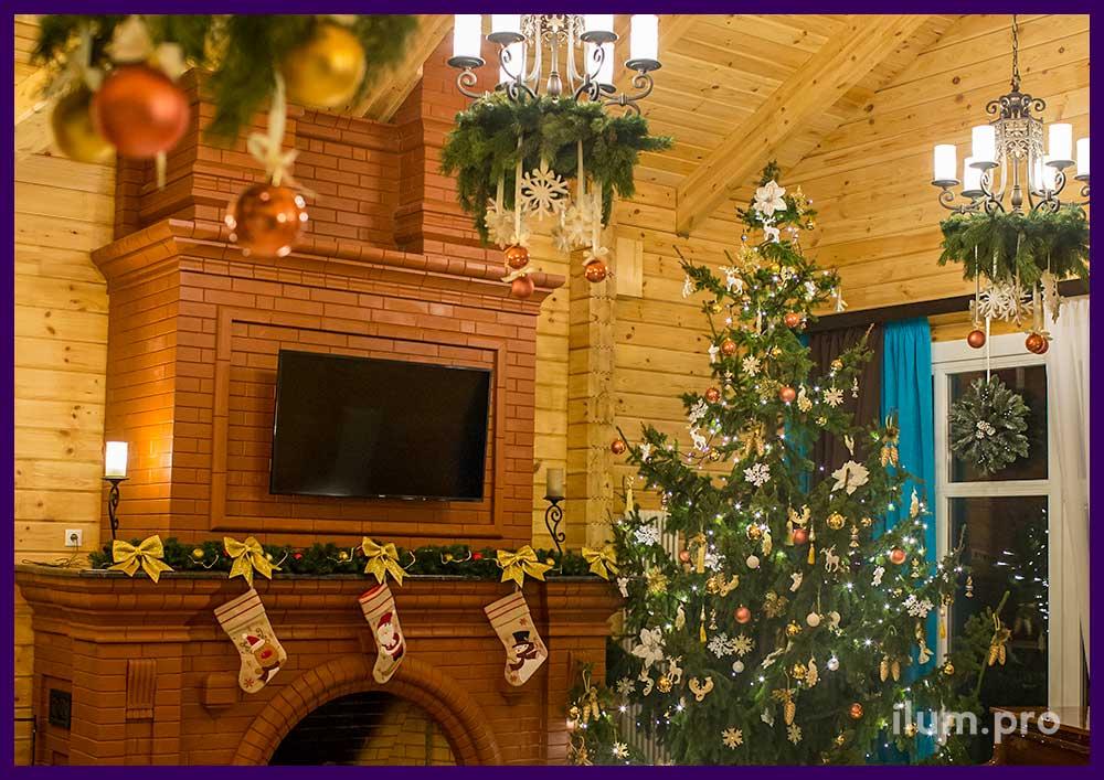 Подвесные композиции из хвои. Интерьерный декор на праздники.