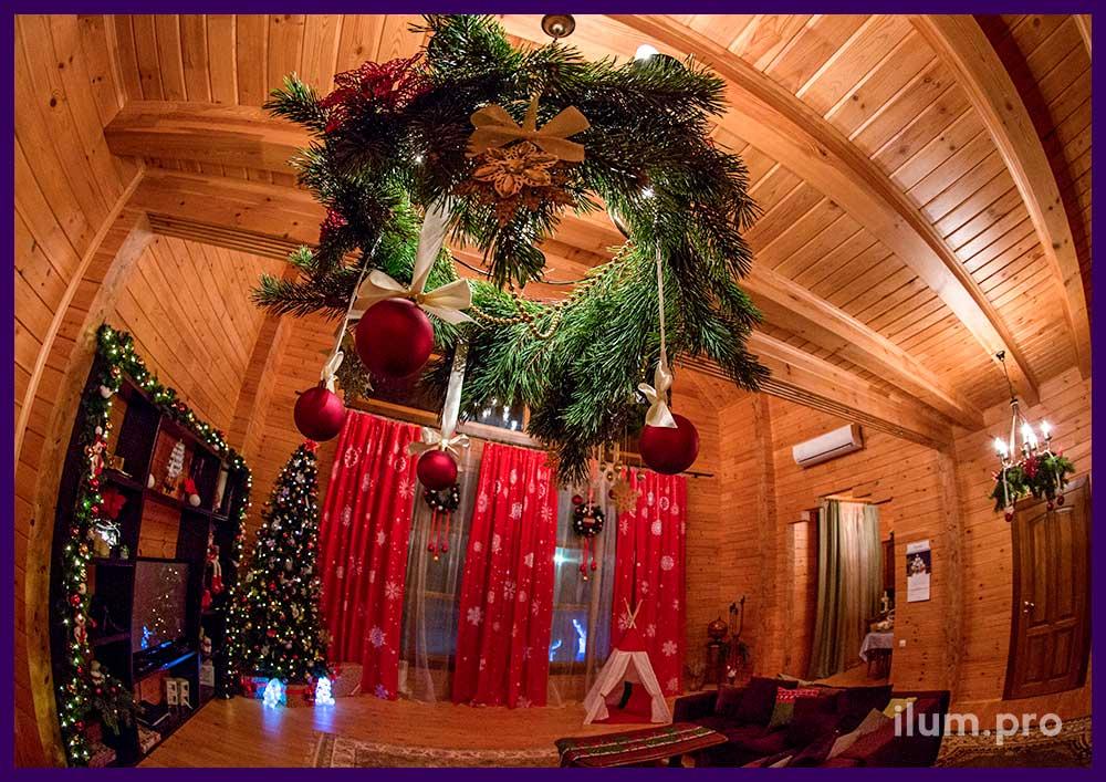Праздничное оформление интерьера к Новому году. Украшение ёлки и пространства вокруг. Подвесные композиции.