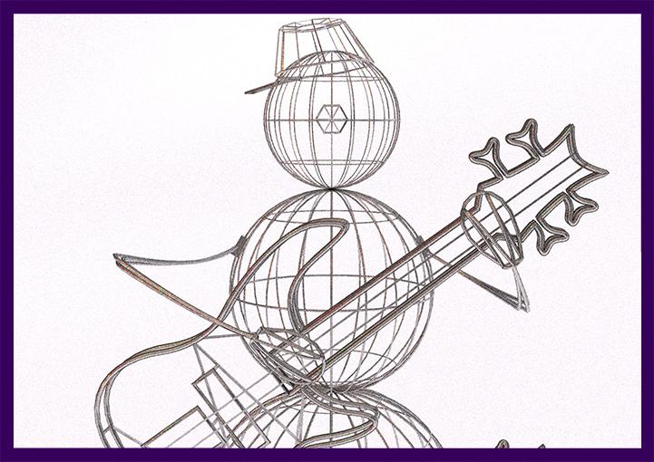 Снеговик с гитарой на новый год, проект новогодней фигуры