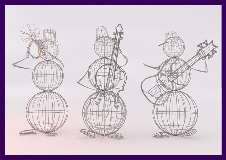 Проект фигур снеговиков с музыкальными инструментами