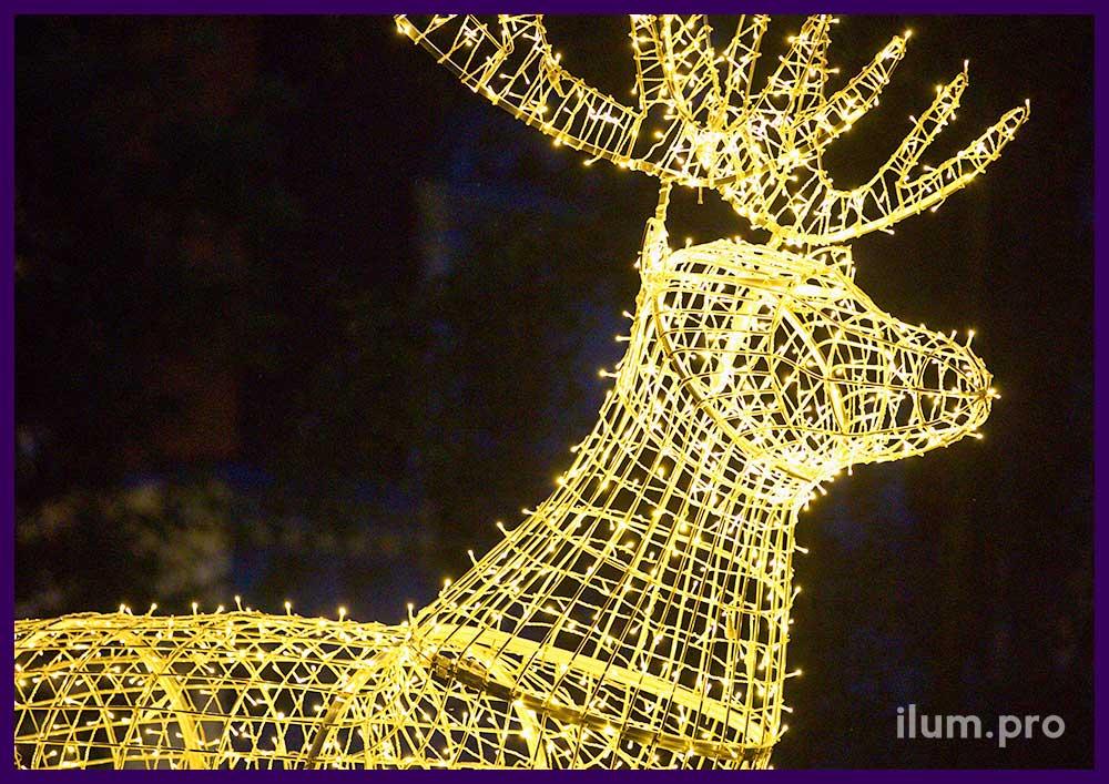 Светодиодная фигура оленя из алюминия