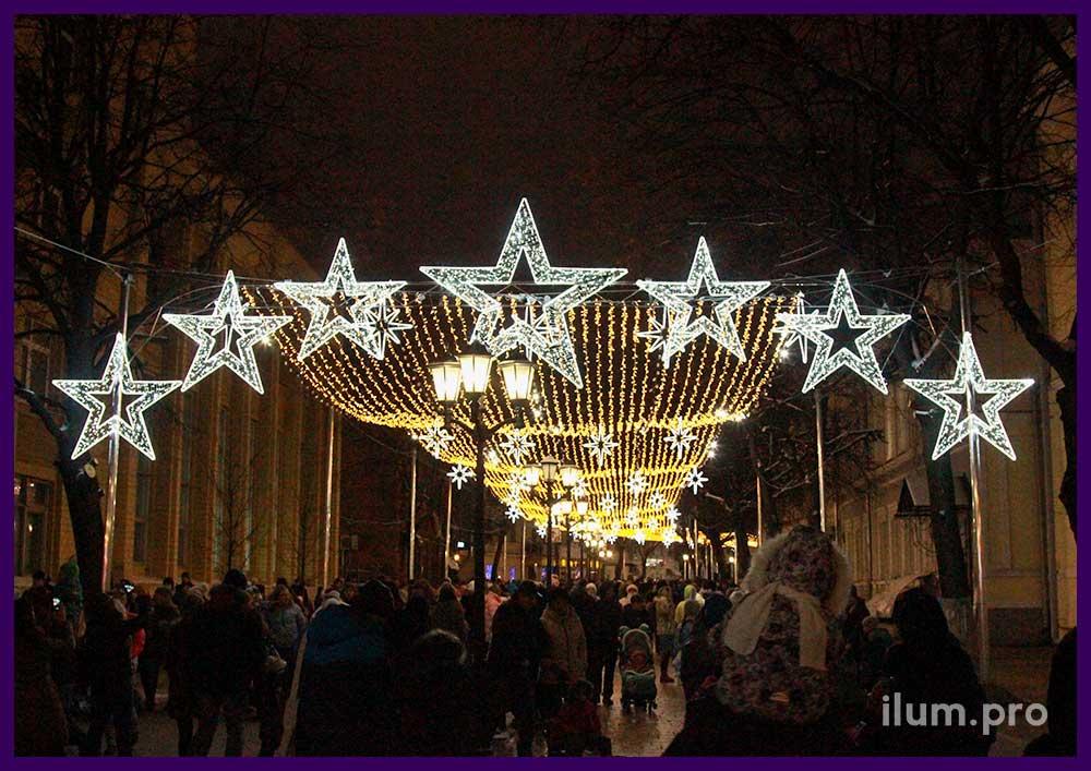 Новогоднее украшение Рязани светодиодной иллюминацией