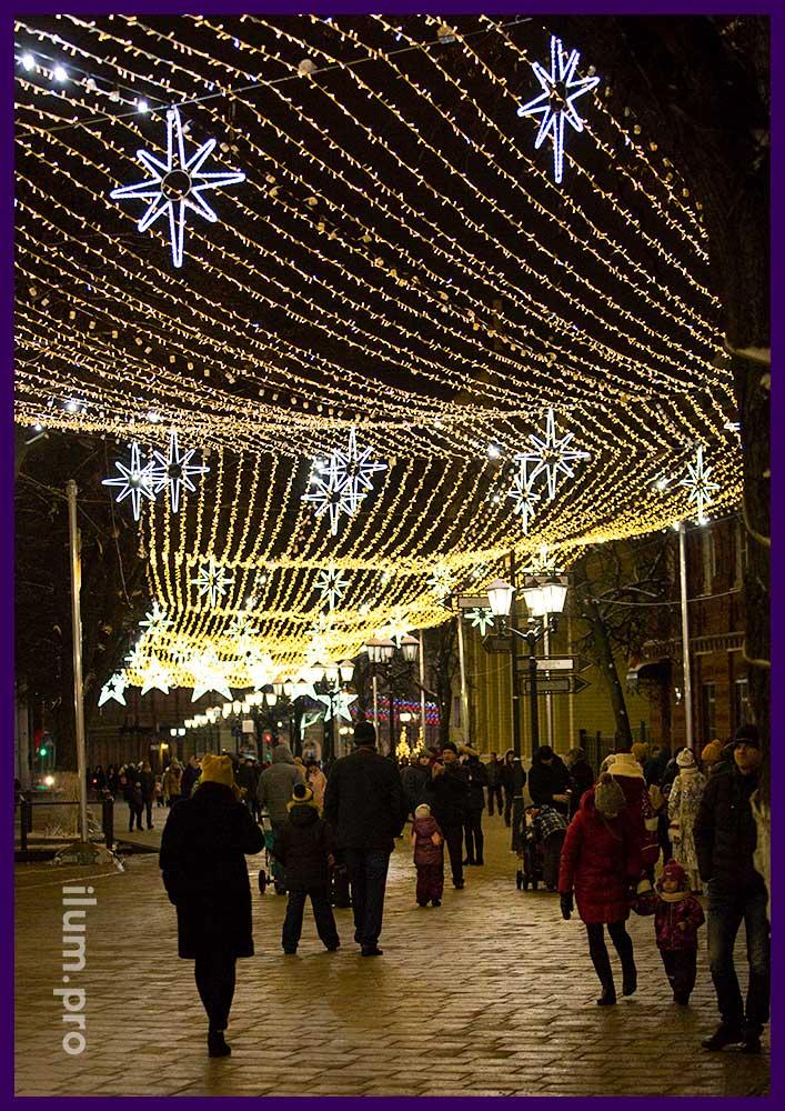 Новогоднее украшение Рязани на улице Почтовая