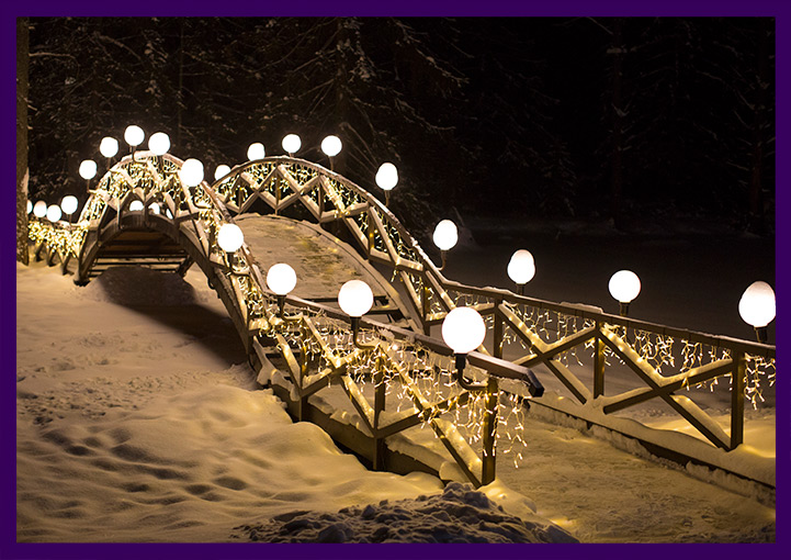 Новогодние гирлянды для украшения моста