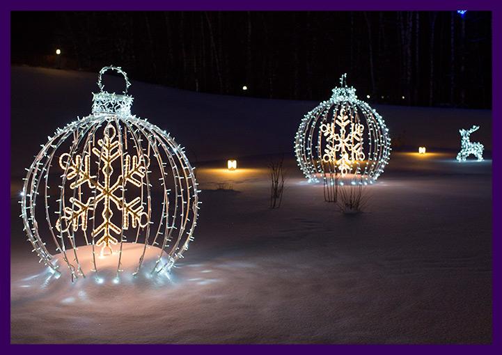 Светодиодные шары для украшения улицы на Новый год