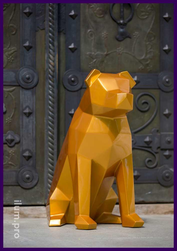 Золотая полигональная фигура собаки
