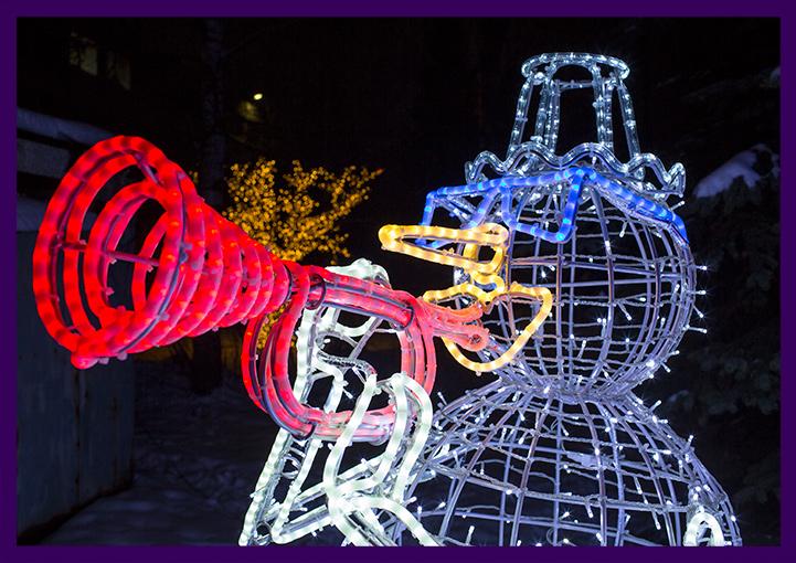 Светодиодная фигура снеговика для улицы