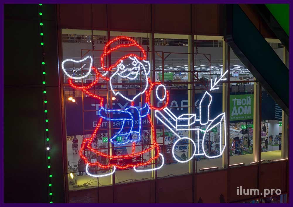 Новогодние фигуры с подсветкой для фасада