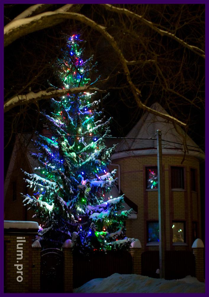 Новогоднее украшение ёлки светодиодным белтлайтом 220 В с прорезиненными патронами