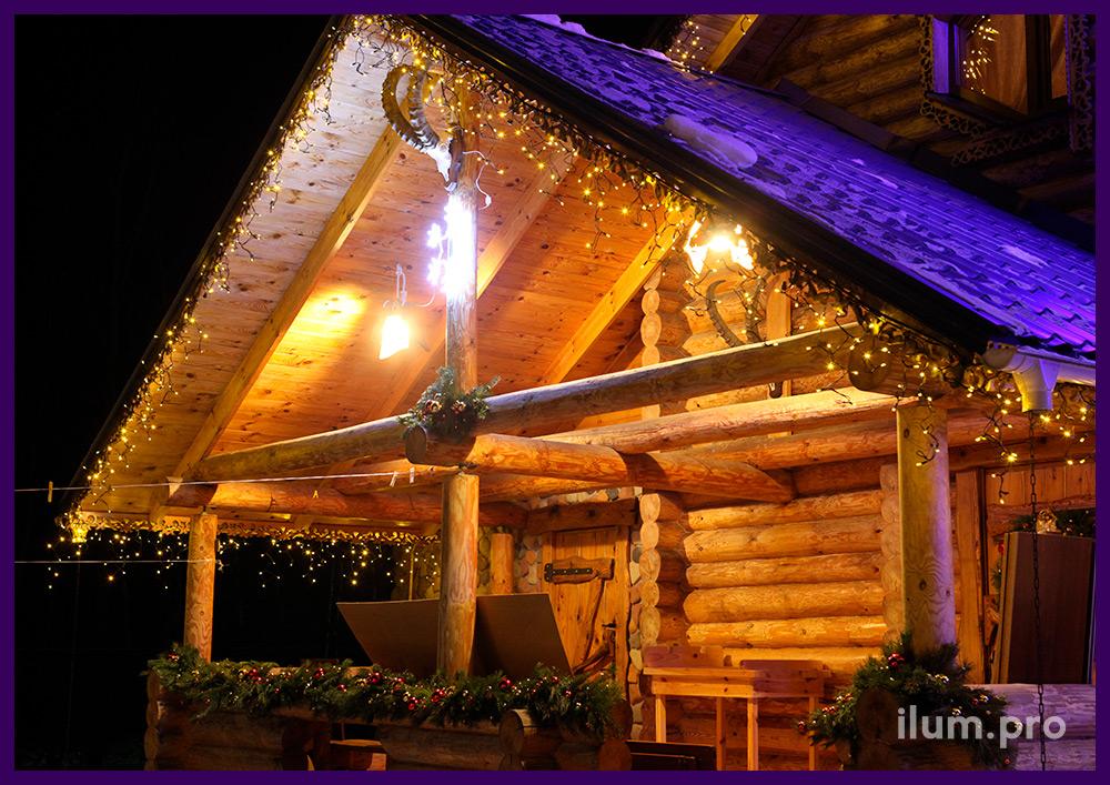 Подсветка крыши дома светодиодной бахромой