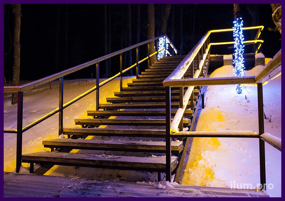 Светодиодная иллюминация на лестничных перилах в парке