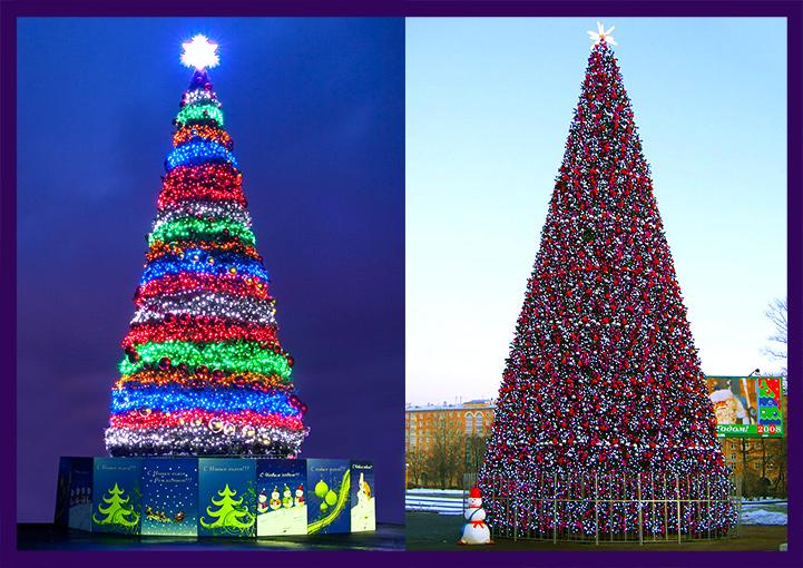 Светодинамические гирлянды на новогодних ёлках