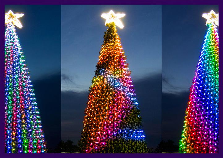 Подсветка уличной ёлки светодиодными гирляндами
