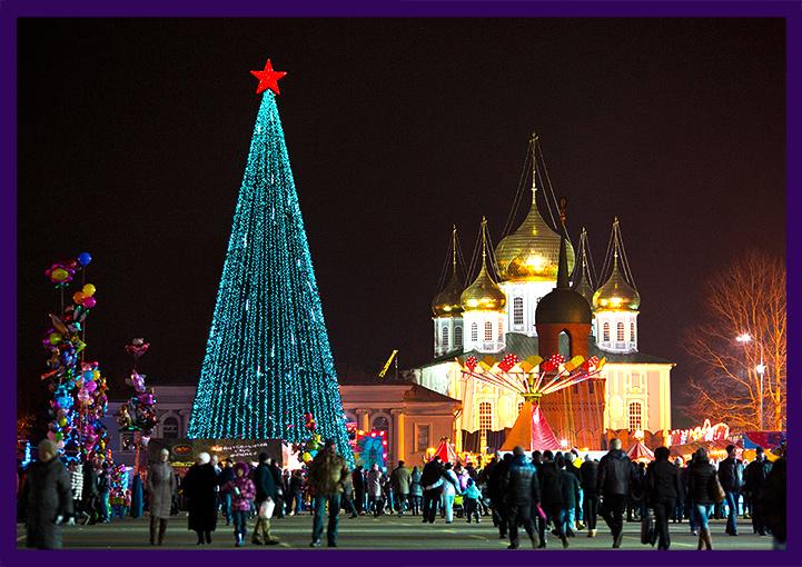 Подсветка новогодней ёлки сосульками и нитями