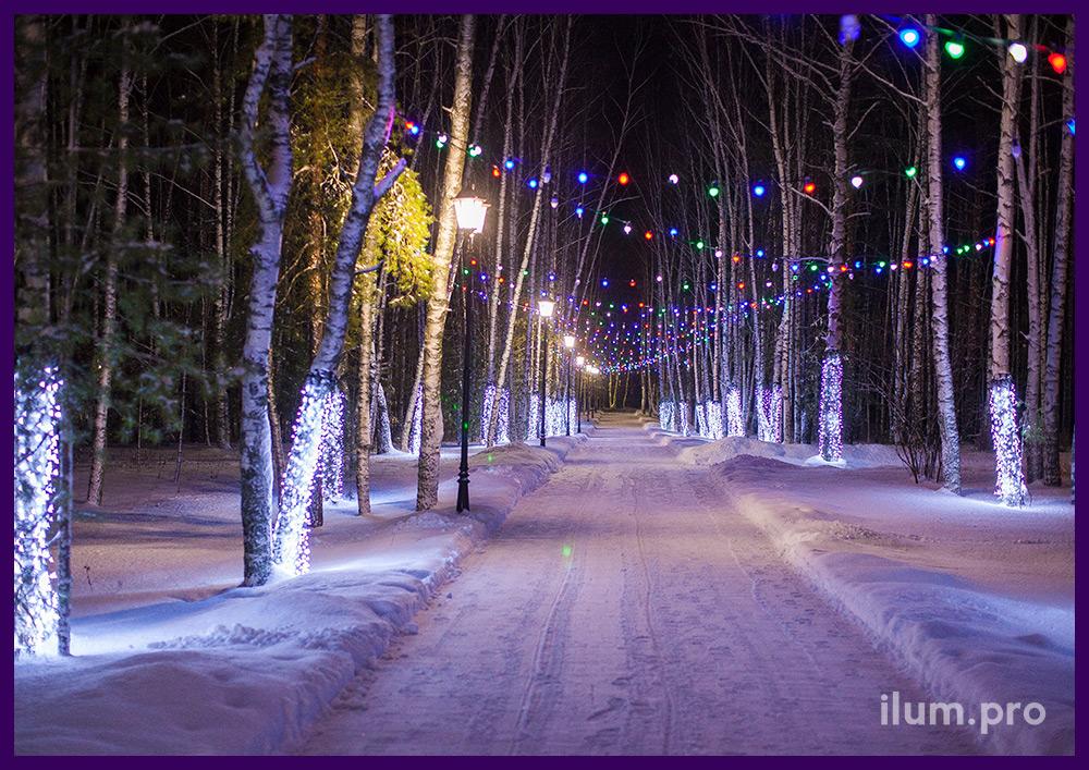 Светодиодные гирлянды над дорожками в парке