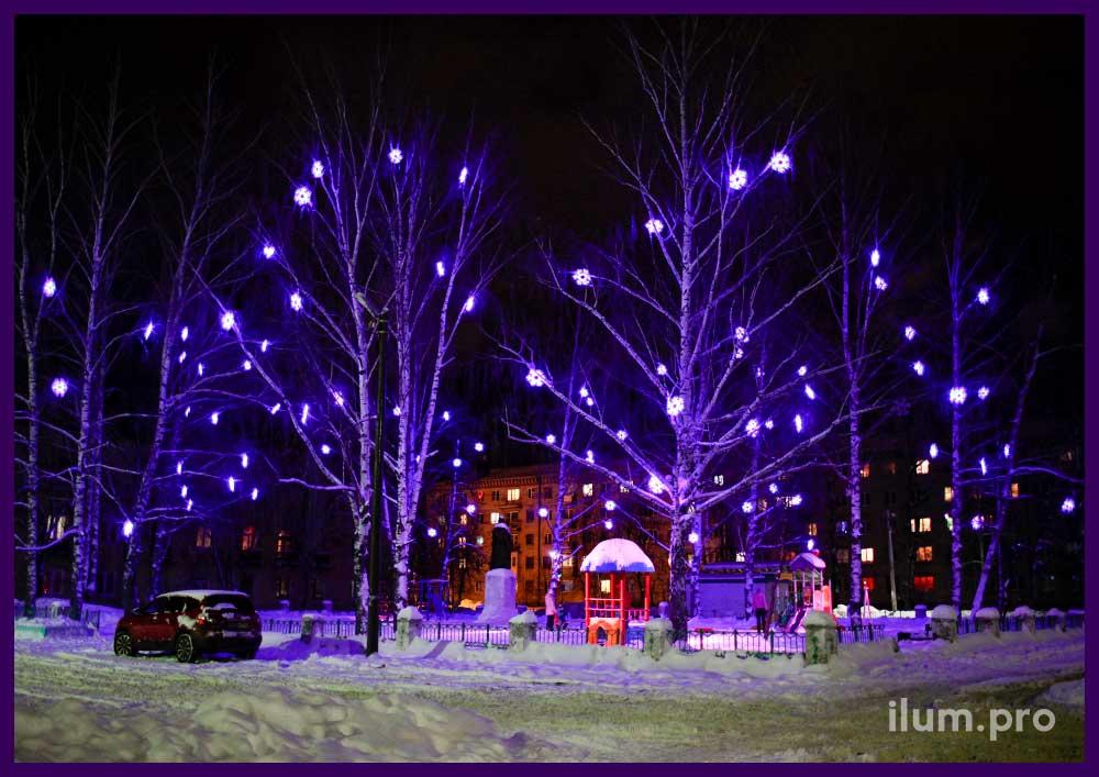 Светодиодные снежинки из дюралайта для деревьев
