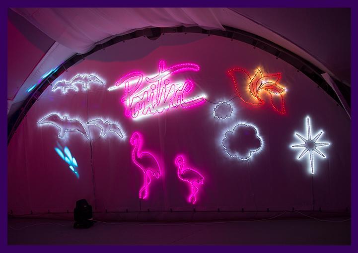 Яркие светящиеся фигуры для украшения шатра