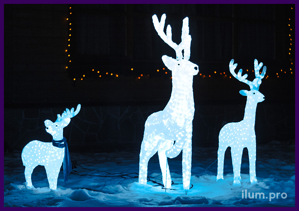 Семья светящихся оленей из акрила белого цвета