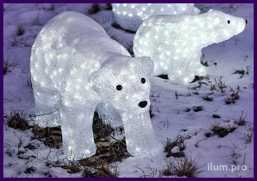 Световые акриловые фигуры белых медведей
