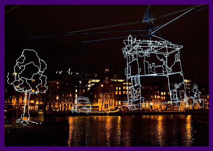 Световые фигуры в Амстердаме