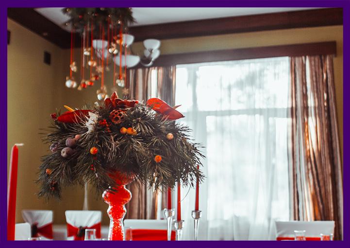 Подвесные и настольные хвойные декорации для интерьера