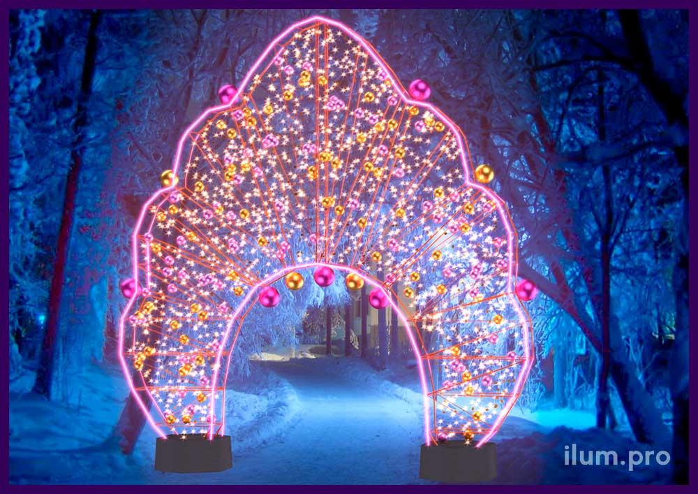 Декоративная арка для улицы из гирлянд в традиционно-русском стиле на Новый год