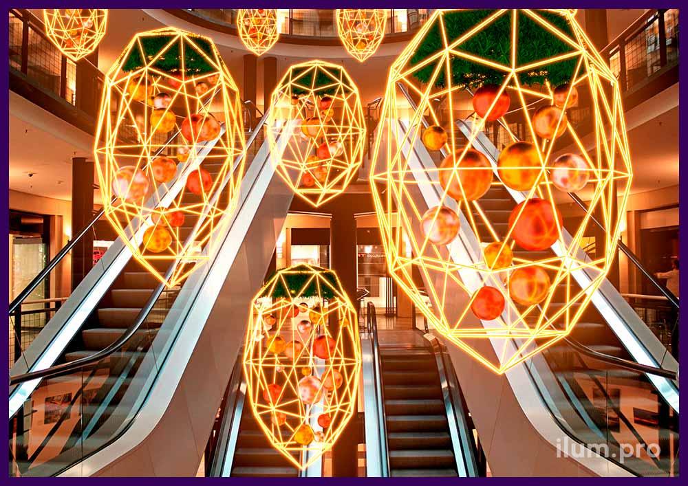 Проект новогоднего оформления торгового центра световыми фигурами