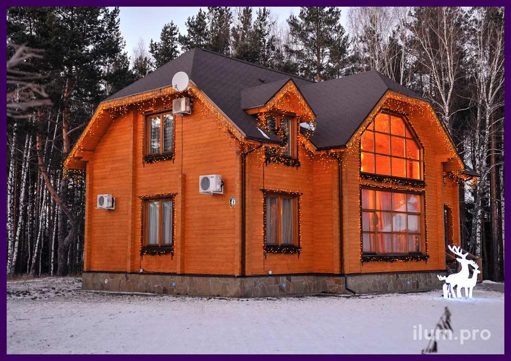 Украшение фасада частного дома светодиодной иллюминацией