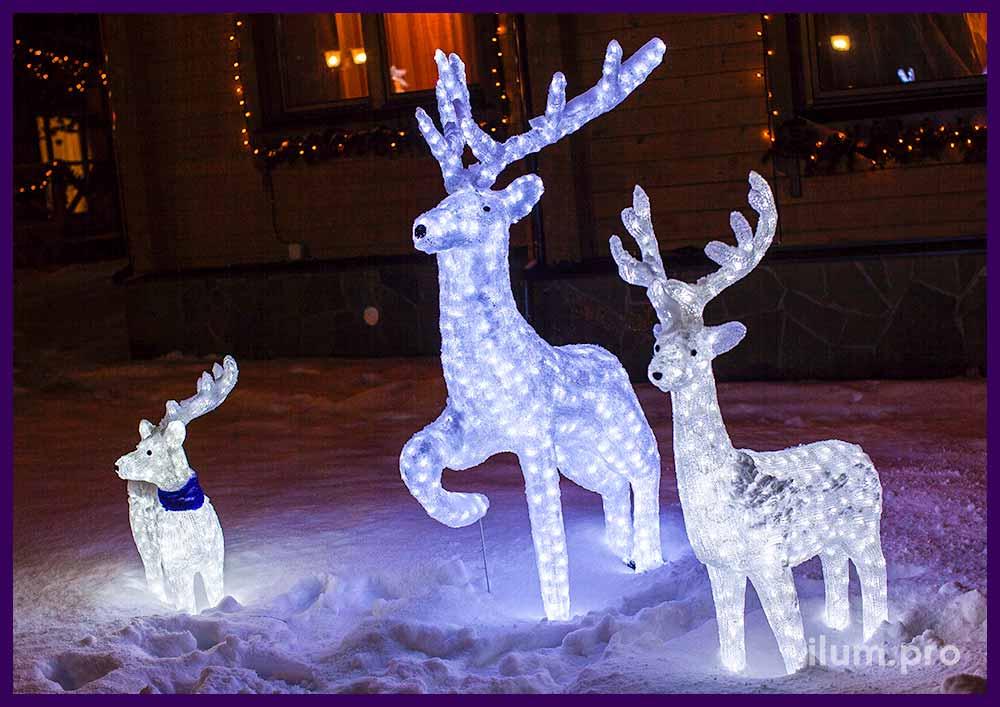 Белые акриловые фигуры оленей, папа мама и сын