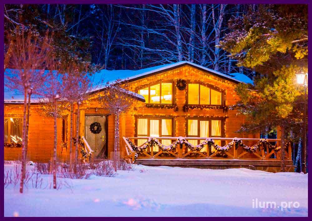 Подсветка фасадов домов VIP клиентов светодиодными гирляндами