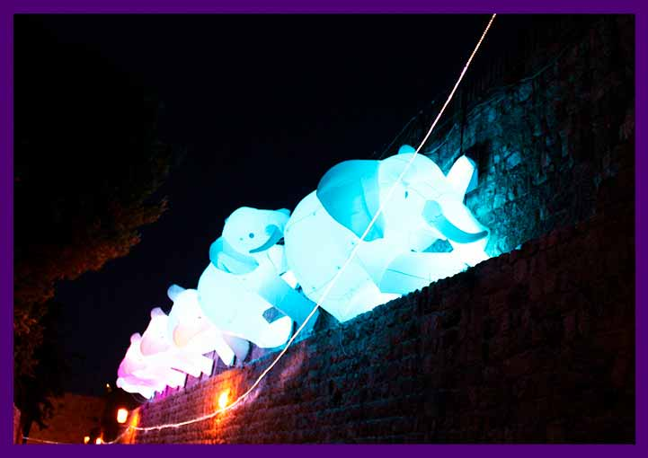 Слоны надувные фигуры со светодиодной подсветкой