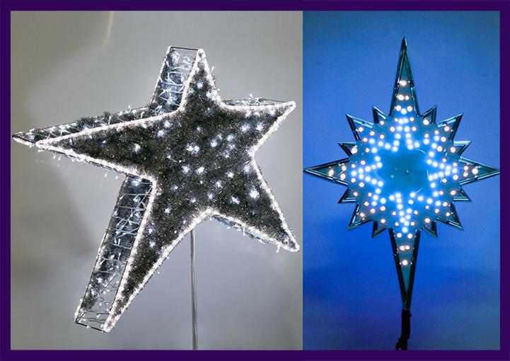 Светящиеся макушки для ёлок в форме звёзд