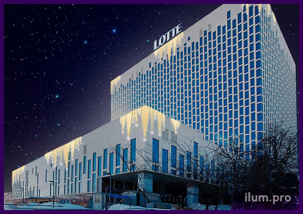 Концепция новогоднего освещения фасада высотного здания в Москве