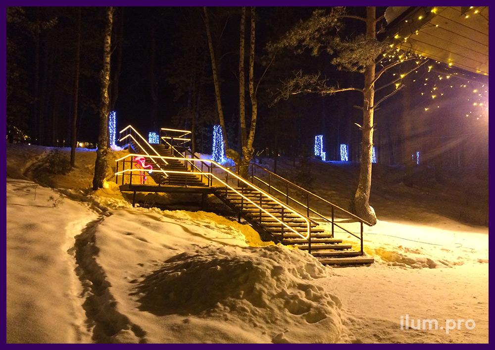 Украшение лестницы светодиодным гибким неоном