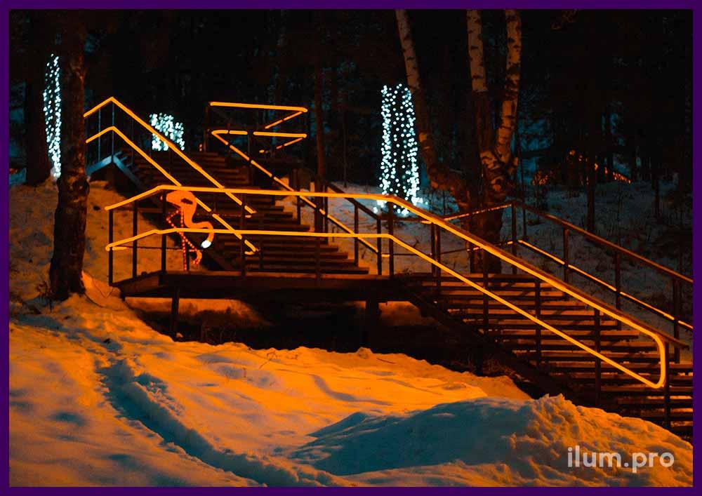 Украшение лестницы гирляндами гибкий неон