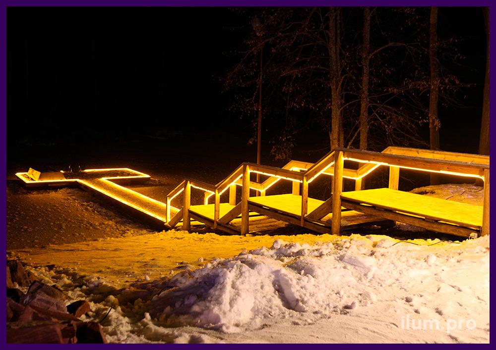 Подсветка лестницы светодиодным дюралайтом