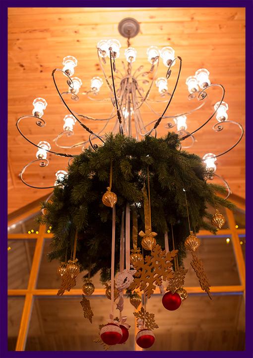 Новогоднее украшение для оформления люстры