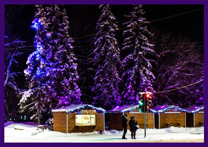 Новогоднее оформление деревянных домиков шале